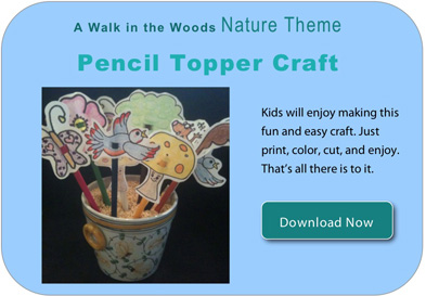 Nature Themed Pencil Topper craft for Kids. Click Image to Get pdf file now.
