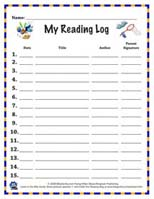 Click to download reading log