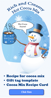 Click image to download and print Billy Gorilly's HOt cocoa recipe and gift tags -free-