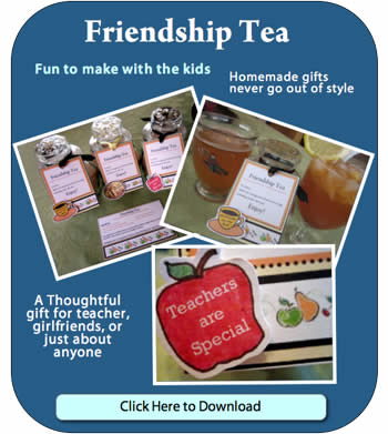 Click Image to download and print Friendship Tea Recipe and Gift tag template. .pdf file format