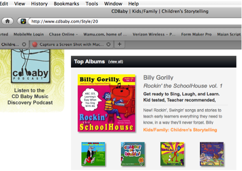 Top Selling Kids Music_Billy Gorilly: ROCKIN' THE SCHOOLHOUSE VOL. 1 Click image to view, listen, or buy CD