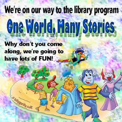 Click on Image to listen to One World, Many Stories Library Song