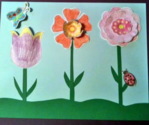 Easy 3 d flower craft for kids sing laugh learn flower craftcolor cut paste maxwellsz