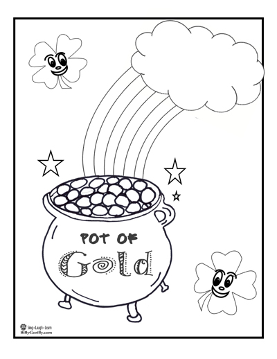 Click image to download and print your pot of gold coloring page