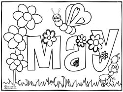 May Coloring Page and Months of the Year Song Sing Laugh Learn