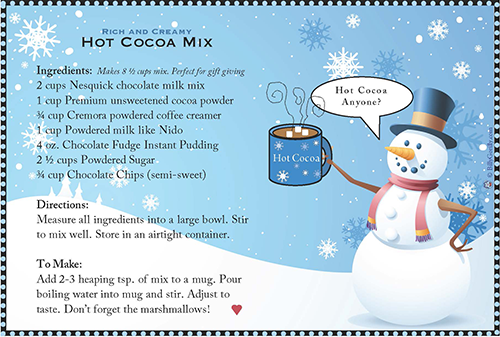 Hot Cocoa Recipe Gift Tags Jingle Bells And Coloring