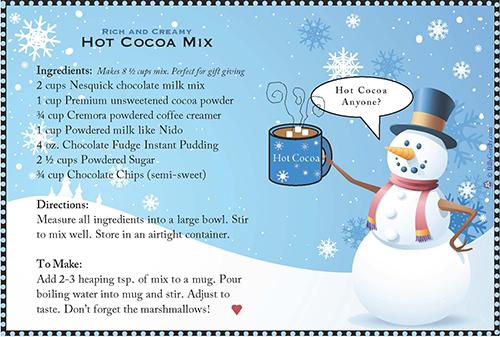Cocoa recipe card