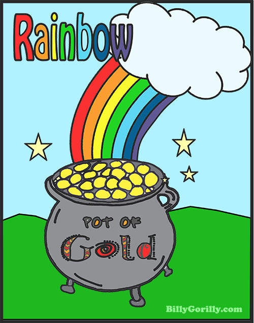 rainbow with pot of gold click to download and print coloring page