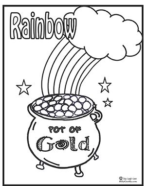 pot of gold with rainbow coloring page thumbnail
