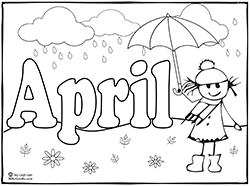 April Showers Coloring Page