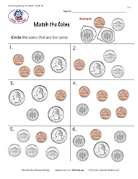 Worksheet with coins - Circle the matching coins