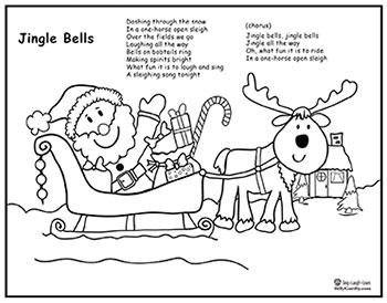 photo about Jingle Bells Lyrics Printable titled Jingle Bells Track, Santa Sleigh Coloring Website page, Lyrics