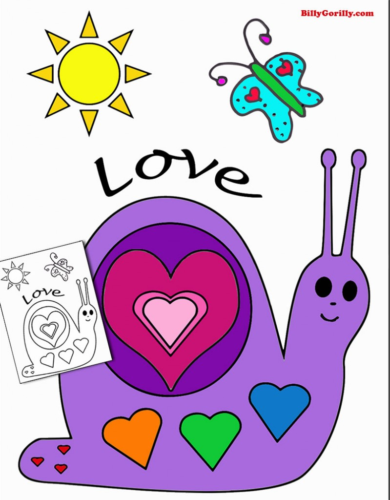 Love coloring page for the kids