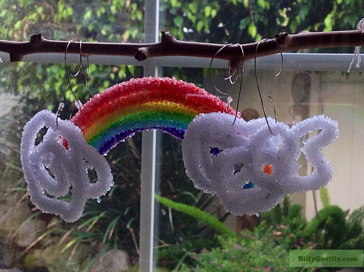 Crystal Rainbow and Clouds hanging in a window