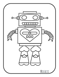 Print Coloring Pages HEART ROBOT