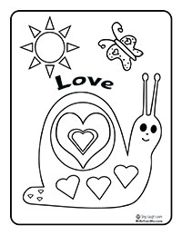 Printable Valentine's - Cute Snail Coloring Page