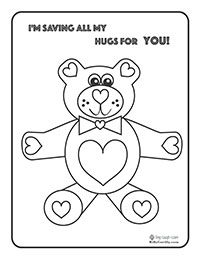 Adorable Teddy Bear Coloring Page for Valentine's Day