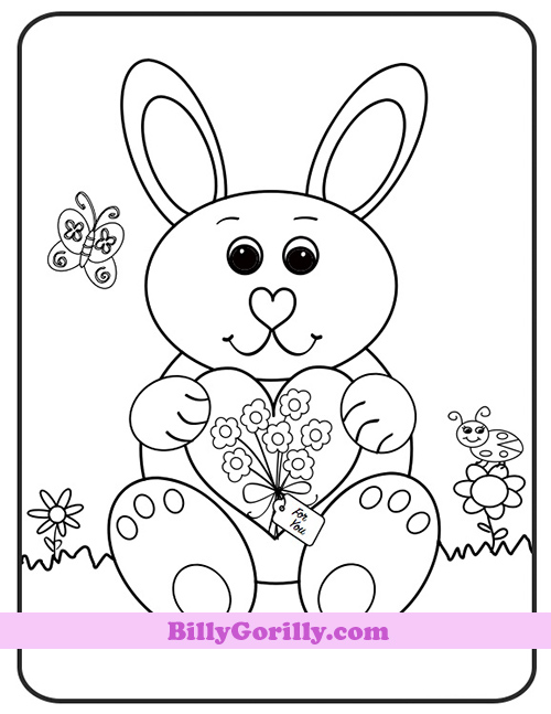 Spring coloring pages for kids bunny