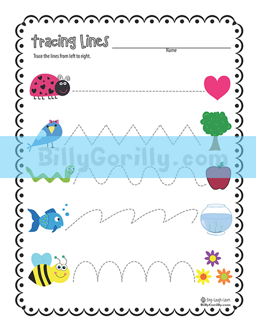 Line Art For Kindergarten : Friday freebie tracing lines worksheet printable sing