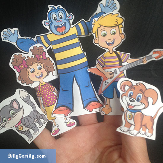 Print and Make - Billy Gorilly DIY Finger Puppet Template