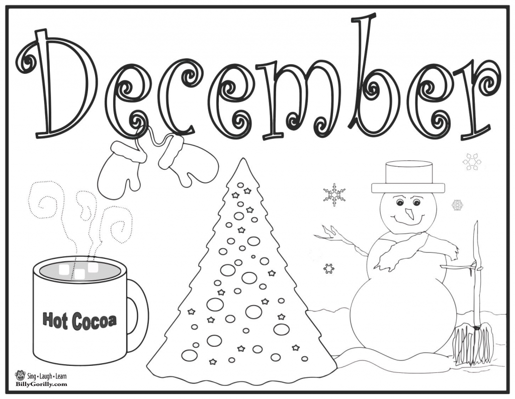 Coloring activities for 1st grade - Printable December Coloring Page