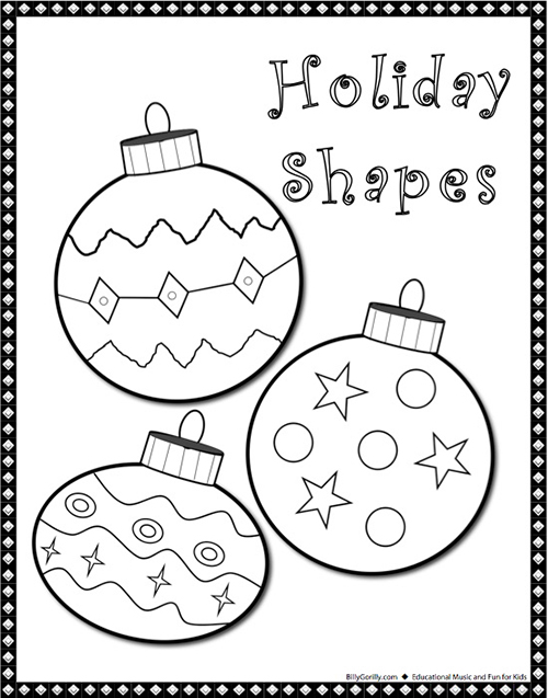 Coloring page of Ornaments Holiday Shapes