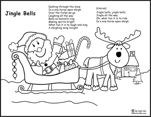 Printable - Santa Sleigh Coloring Page with Jingle Bells Lyrics