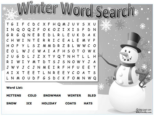 Printable Winter Word Search in Black and White