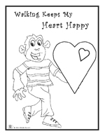 Click to download and print Billy Gorilly's Walking Keeps My Heart Happy coloring page