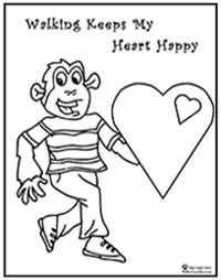 Click to download Billy Gorilly healthy heart coloring page