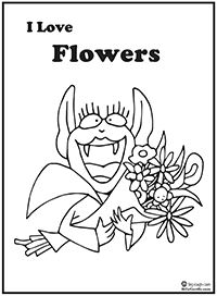 click to download Betty Bat fowers coloring page