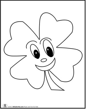 four leaf clover coloring page free printable coloring pages - Four Leaf Clover Printable