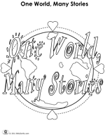 One World Many Stories coloring page