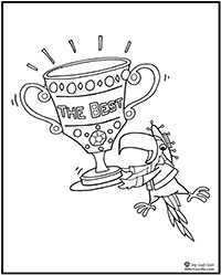 Click to download  coloring page - parrot with tropy