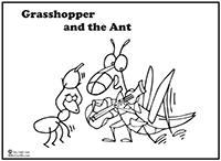 Click to download Grasshopper and the Ant coloring page